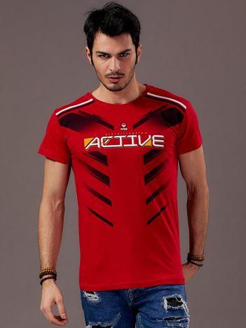 Czerwony t-shirt męski Active