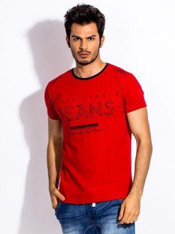 Czerwony t-shirt męski JEANS