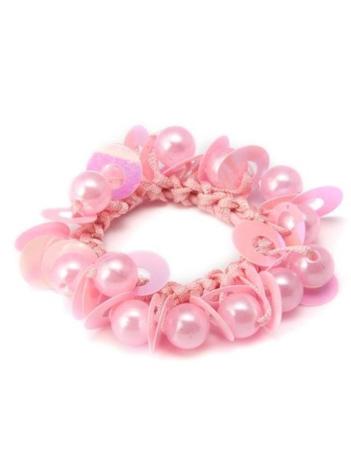 DONEGAL GUMKA do włosów różowa z koralikami (FA-5052) 1szt.