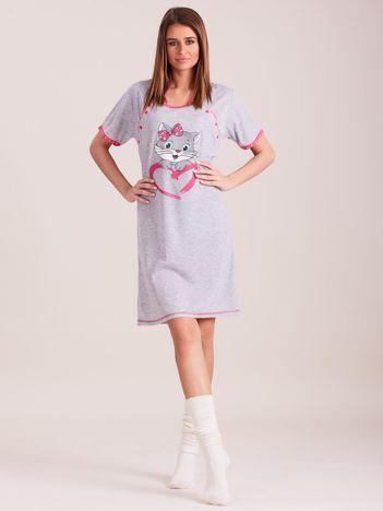 Damska koszula nocna szaro-różowa