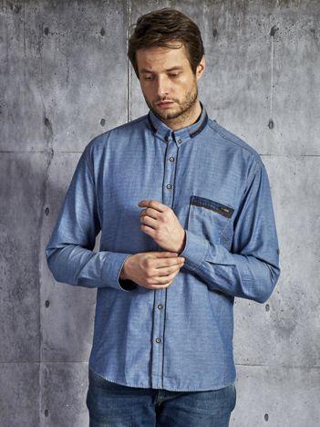 Denimowa koszula męska z bawełny niebieska