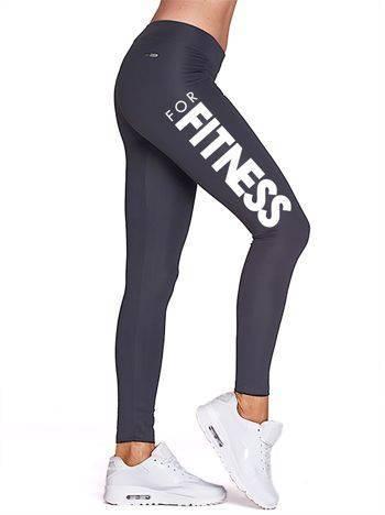 Długie grafitowe legginsy fitness ze sportowym printem