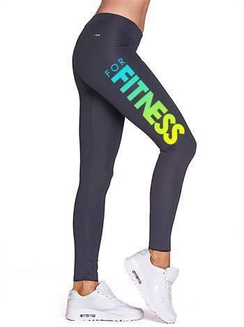 Długie grafitowe legginsy sportowe z fitnessowym nadrukiem