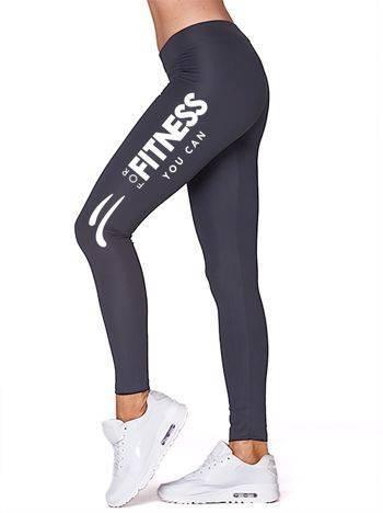Długie legginsy do biegania z nadrukiem na nogawce grafitowe