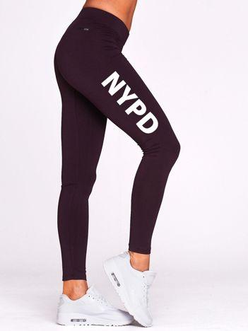 Długie legginsy na siłownię z nadrukiem NYPD ciemnofioletowe