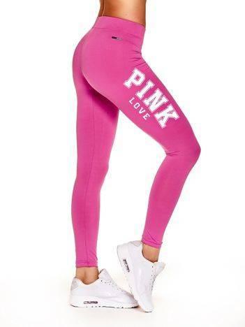 Długie legginsy na siłownię z tekstem PINK LOVE ciemnoróżowe