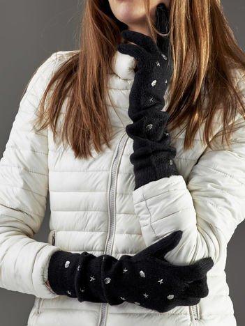 Długie rękawiczki z ćwiekami z domieszką wełny czarne