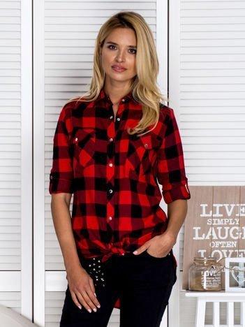 Dłuższa bawełniana koszula w kratę czarno-czerwona