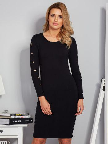 Dopasowana sukienka z oczkami na rękawach czarna