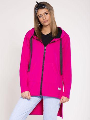 Dresowa asymetryczna bluza z kapturem różowa