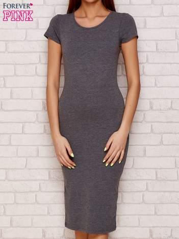 Dresowa gładka sukienka szara