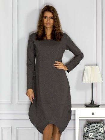 Dresowa sukienka z surowym wykończeniem ciemnoszara