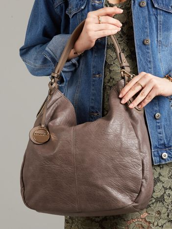 Duża szara torba ze skóry ekologicznej