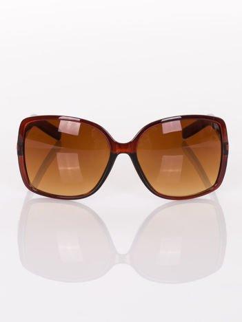 """Duże brązowe okulary przeciwsłoneczne  """" MUCHY """"ze złotymi zdobieniami na zausznikach"""