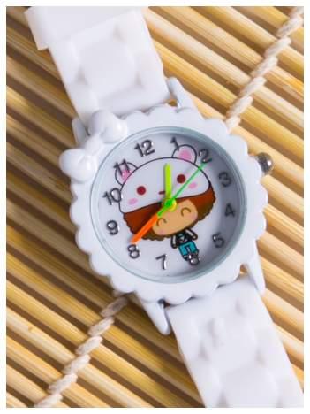 Dziecięcy biały zegarek z kokardką na kopercie DZIEWCZYNKA