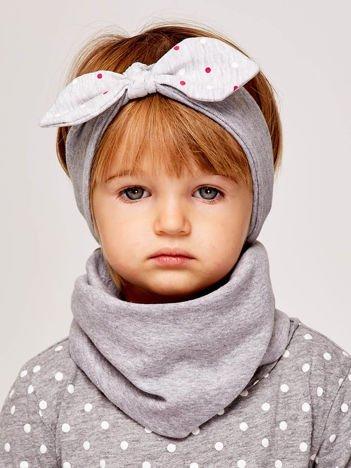 Dziewczęca opaska do włosów z kokardą w kropeczki szara