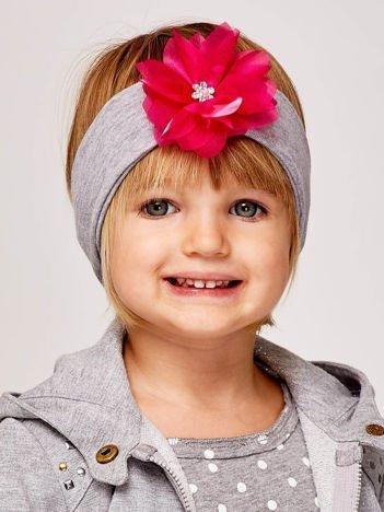 Dziewczęca opaska do włosów z tiulowym kwiatem jasnoszara