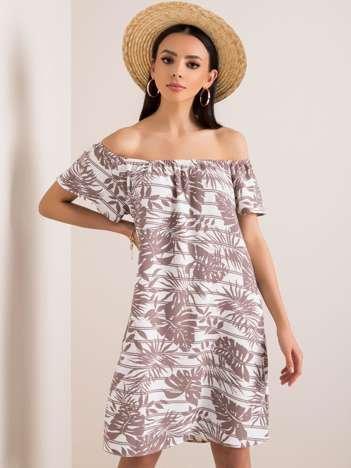 Ecru-beżowa sukienka Flamenco