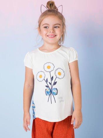 Ecru bluzka dla dziewczynki w kwiaty