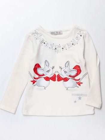 Ecru bluzka dla dziewczynki z aplikacją