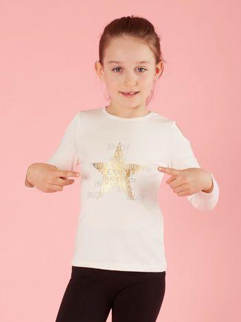 Ecru bluzka dla dziewczynki z dżetami