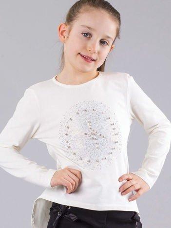 Ecru bluzka dziewczęca z błyszczącą aplikacją