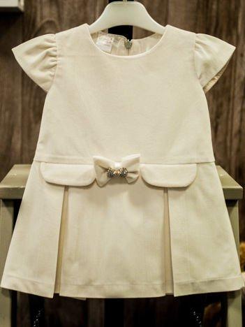 Ecru elegancka sukienka dziewczęca z kokardką z cyrkonii