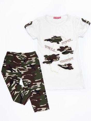 Ecru-khaki komplet dla dziewczynki
