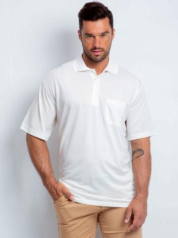 Ecru koszulka polo męska plus size Further