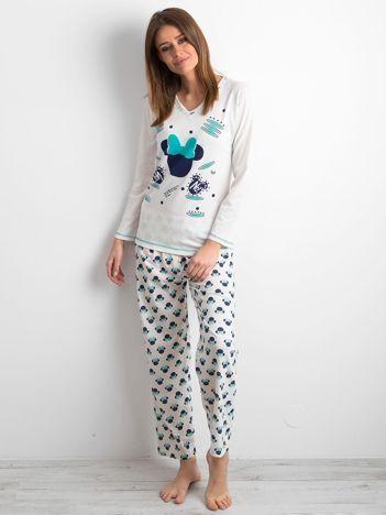 Ecru piżama damska z nadrukiem