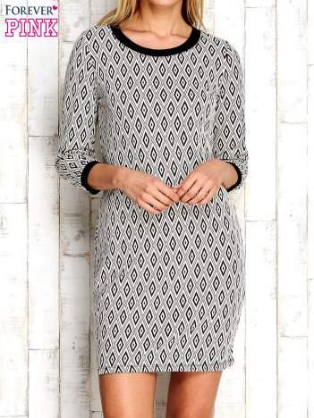 Ecru sukienka w geometryczne wzory
