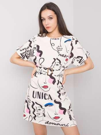 Ecru sukienka z printami Janeth
