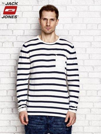 Ecru sweter męski w szerokie pasy z kieszenią