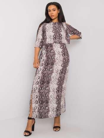Ecru-szara długa sukienka plus size Florens RUE PARIS