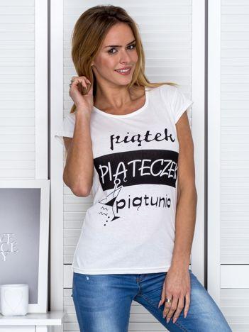 Ecru t-shirt damski PIĄTEK PIĄTECZEK