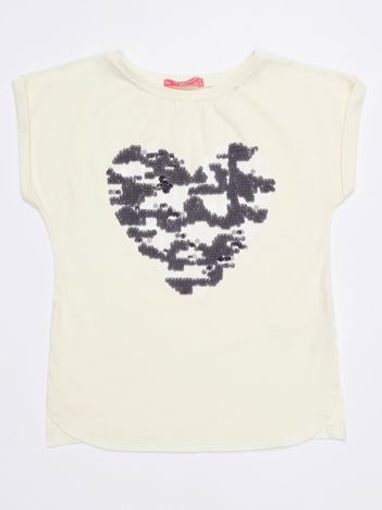 Ecru t-shirt dla dziewczynki z cekinowym sercem