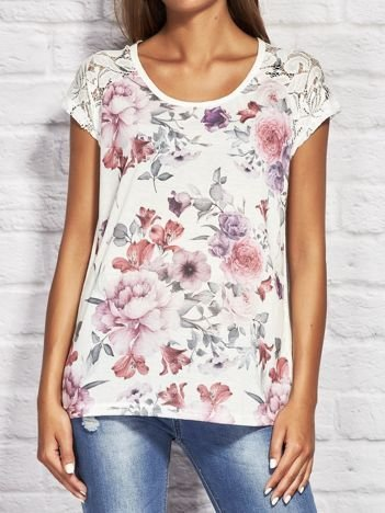 Ecru t-shirt w kolorowe kwiaty