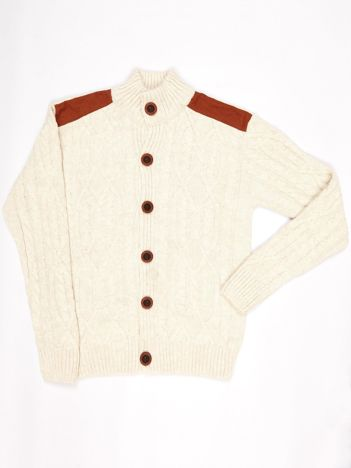Ecru zapinany sweter dla chłopca
