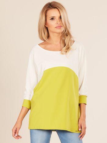Ecru-zielona bluzka oversize