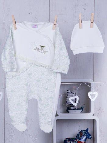 Ecru-zielony pajacyk niemowlęcy z czapeczką