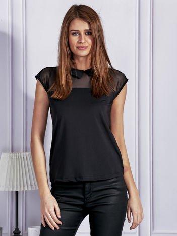 Elegancka bluzka z siateczkowym dekoltem czarna