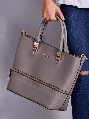 Elegancka torba saffinano z odpinanym paskiem szara