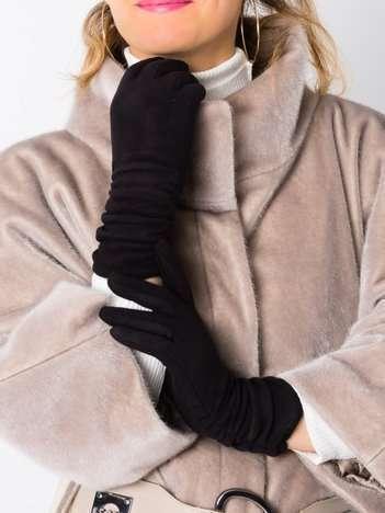 Eleganckie zamszowe damskie rękawiczki dotykowe z marszczeniem (30cm)