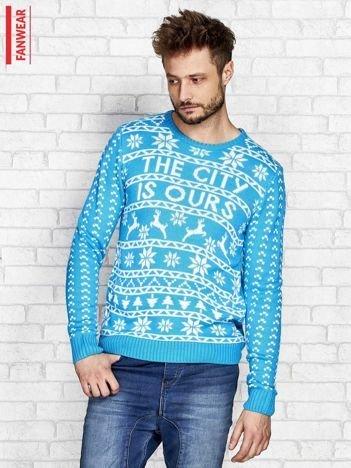 FANWEAR Niebieski sweter męski w norweskie wzory
