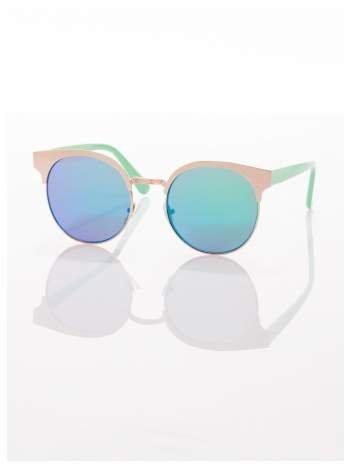 FASHION okulary przeciwsłoneczne KOCIE OCZY stylizowane na FENDI zielono-złote