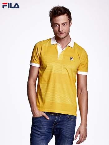 FILA Żółta koszulka polo męska w drobne paski