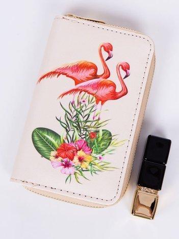 FLAMINGO Beżowy portfel damski z flamingami