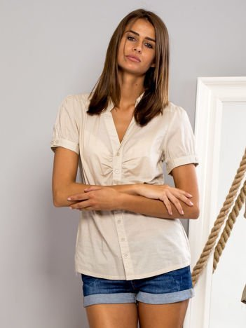 FUNK N SOUL Beżowa koszula z marszczonym rękawkiem