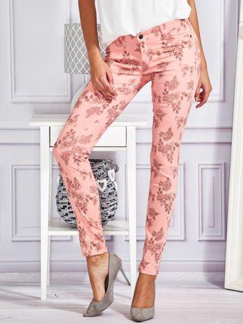 FUNK N SOUL Spodnie rurki skinny w kwiaty różowe