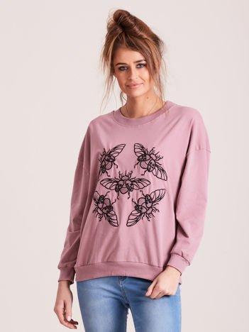 Fioletowa bluza z motywem owadów